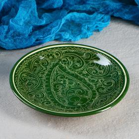 Тарелка плоская Риштанская Керамика 15,5см зеленый