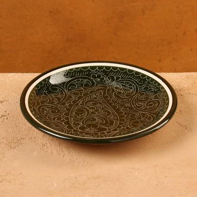Тарелка плоская Риштанская Керамика 15,5см зеленый - Фото 1