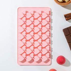 Форма для льда и шоколада 19,5×11,5 см 'Сердечки', 56 ячеек, цвет МИКС Ош