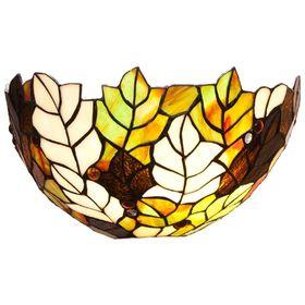 Бра настенное в стиле Tiffany 'Осень' 1 лампа разноцветный металл, стекло 40W Е14 S=2 м2 17х30,5х15, Ош