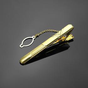 Зажим для галстука стальной 'Классический' галка, цвет золото Ош
