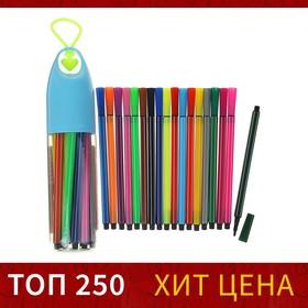 Фломастеры, 18 цветов, в пластиковом тубусе с ручкой, вентилируемый колпачок, МИКС