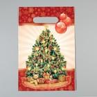 """Пакет """"Праздничная елочка"""", полиэтиленовый с вырубной ручкой, 30 х 20 см, 30 мкм"""