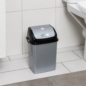 Контейнер для мусора Росспласт «Камелия», 4 л, цвет серебристый перламутр/чёрный
