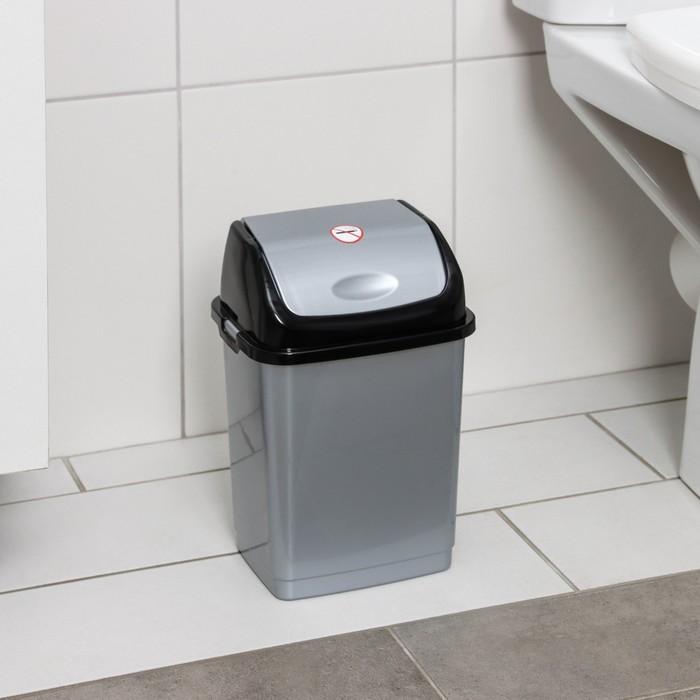 Контейнер для мусора Росспласт Камелия, 4 л, цвет серебристый перламутрчёрный