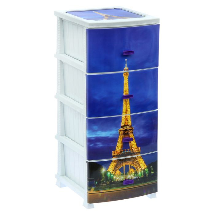 Комод 4-х секционный «Декор. Париж», цвет белый