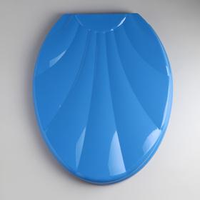 Сиденье для унитаза «Ракушка», с крышкой, цвет тёмно-голубой