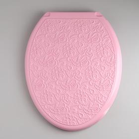 Сиденье для унитаза с крышкой Росспласт «Декор. Ажур», цвет розовый