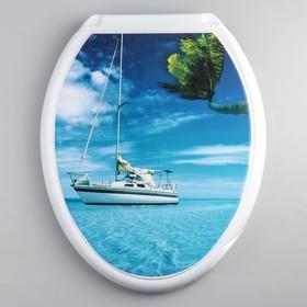 Сиденье для унитаза с крышкой «Декор. Яхта», цвет белый