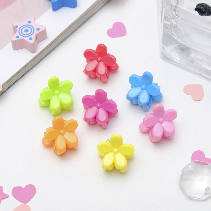"""Крабики для волос """"Мини"""" (набор 100 шт.) разноцветные цветочки"""