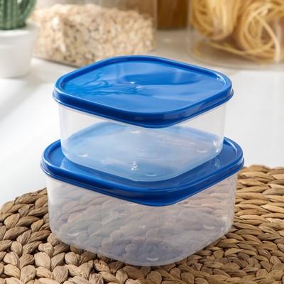 Набор контейнеров пищевых Доляна, квадратных, 2 шт: 450 мл; 700 мл, цвет голубой - Фото 1