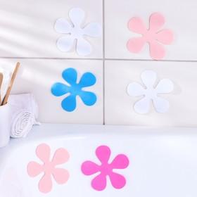 Набор мини-ковриков для ванны Доляна «Цветочек», 10,5×10,5 см, 6 шт, цвет МИКС Ош