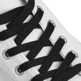 Шнурки для обуви, пара, плоские, 9 мм, 120 см, цвет чёрный Ош
