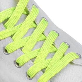 Шнурки для обуви, пара, плоские, 9 мм, 120 см, цвет салатовый неоновый Ош