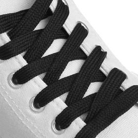 Шнурки для обуви, пара, плоские, 8 мм, 120 см, цвет чёрный Ош
