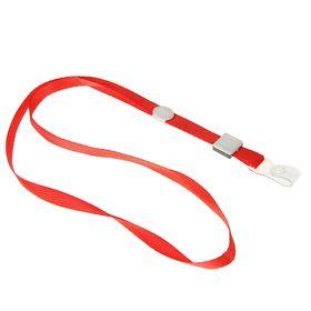 Лента для бейджа, 10 мм х 80 см, плотная, с бегунком и с силиконовым зажимом, красная