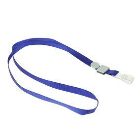 Лента для бейджа, ширина 10 мм, длина 80 см, плотная, с бегунком и с силиконовым зажимом, синяя
