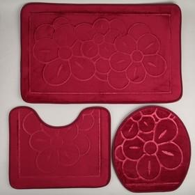 Набор ковриков для ванны и туалета Доляна, 3 шт: 36×43, 40×50, 50×80 см, цвет бордовый