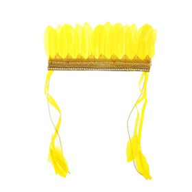 Карнавальный головной убор «Пёрышки», на резинке, цвет жёлтый Ош
