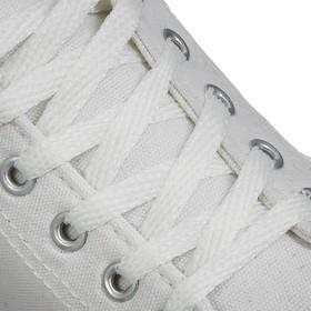 Шнурки для обуви, пара, плоские, 7 мм, 120 см, цвет белый Ош