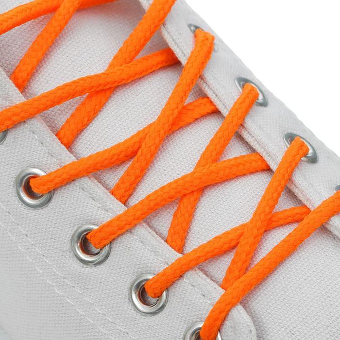 Шнурки для обуви, пара, круглые, d = 3 мм, 120 см, цвет оранжевый неоновый