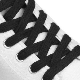 Шнурки для обуви, пара, плоские, 10 мм, 120 см, цвет чёрный