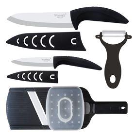 Набор керамических ножей, 4 пр: поварской 28см, универсальный 21см, картофелечистка, терка.  Winner