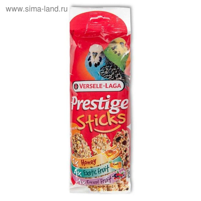 Палочки VERSELE-LAGA Prestige для волнистых попугаев, мед/фрукты/ягоды, 3х30 г.