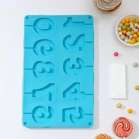 Форма для леденцов и мороженого Доляна «Арифметика», 29×17 см, 10 ячеек, с палочками, цвет МИКС