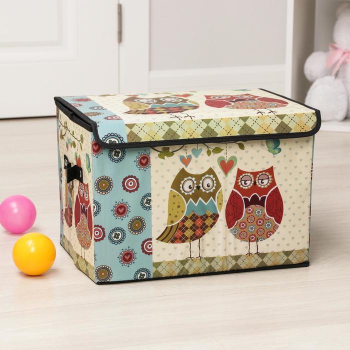 """Короб для хранения 40×25×25 см """"Влюбленные совушки"""", большой"""