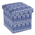 Короб для хранения (пуф) складной «Индийский слон», 30×30×30 см, цвет синий