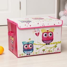 Короб для хранения с крышкой «Весенние совушки», 40×26×26 см, цвет розовый Ош