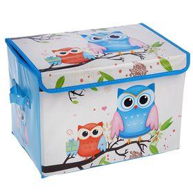 Короб для хранения с крышкой «Летние совушки», 40×26×26 см, цвет голубой Ош