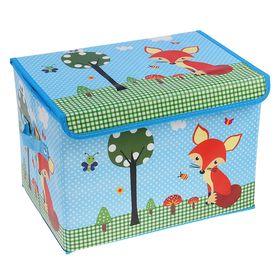 Короб для хранения с крышкой «Лиса на поляне», 40×26×26 см, цвет голубой Ош