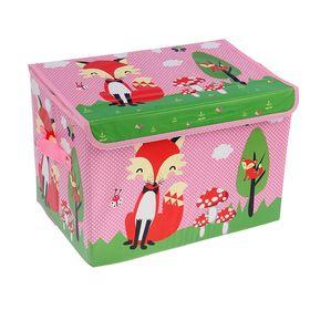 Короб для хранения с крышкой «Лиса на поляне», 40×26×26 см, цвет розовый Ош