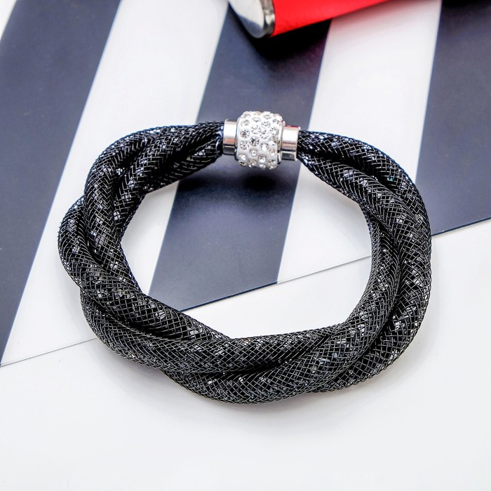 Браслет со стразами Стардаст плетение, цвет чёрный, L22 см