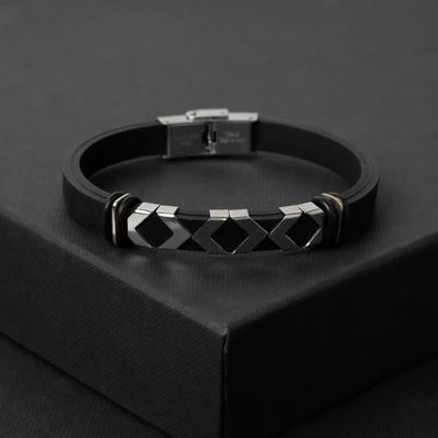 """Браслет унисекс """"Мощь"""" геометрия, цвет чёрный в серебре,L=22 см"""