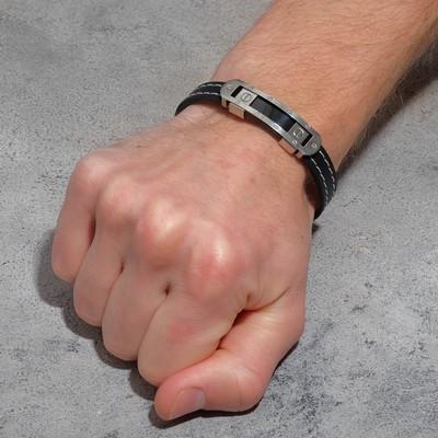 """Браслет унисекс """"Мощь"""" прямоугольная пряжка, цвет чёрный в серебре,L=22 см"""