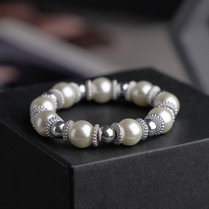 """Браслет жемчуг """"Бусинка"""", цвет белый в серебре, d=6см"""