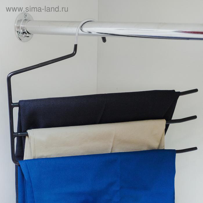 Вешалка антискользящая для брюк, 3-х уровневая, цвет МИКС