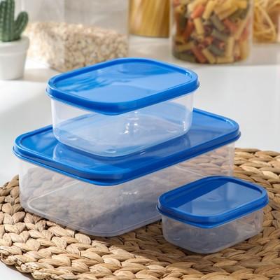 Набор контейнеров пищевых прямоугольных Доляна, 3 шт: 150 мл, 500 мл, 1,2 л, цвет синий - Фото 1