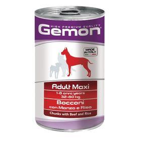 Влажный корм Gemon Dog Maxi для собак крупных пород, кусочки говядины с рисом, ж/б, 1250 г