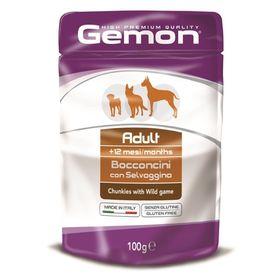 Влажный корм Gemon Dog Pouch для собак, кусочки дичи, пауч, 100 г Ош