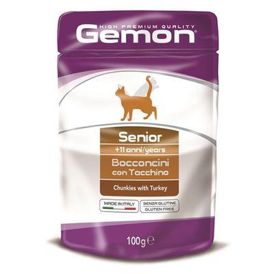 Влажный корм Gemon Cat Pouch для пожилых кошек, кусочки индейки, пауч, 100 г - Фото 1