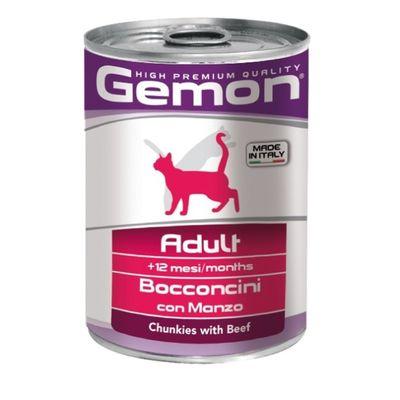 Влажный корм Gemon Cat для кошек, кусочки говядины, ж/б, 415 г - Фото 1