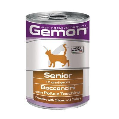 Влажный корм Gemon Cat для пожилых кошек, кусочки курицы с индейкой, ж/б, 415 г - Фото 1