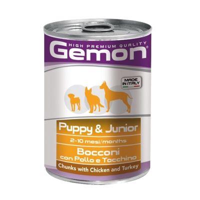 Влажный корм Gemon Dog для щенков, кусочки курицы с индейкой, ж/б, 415 г - Фото 1