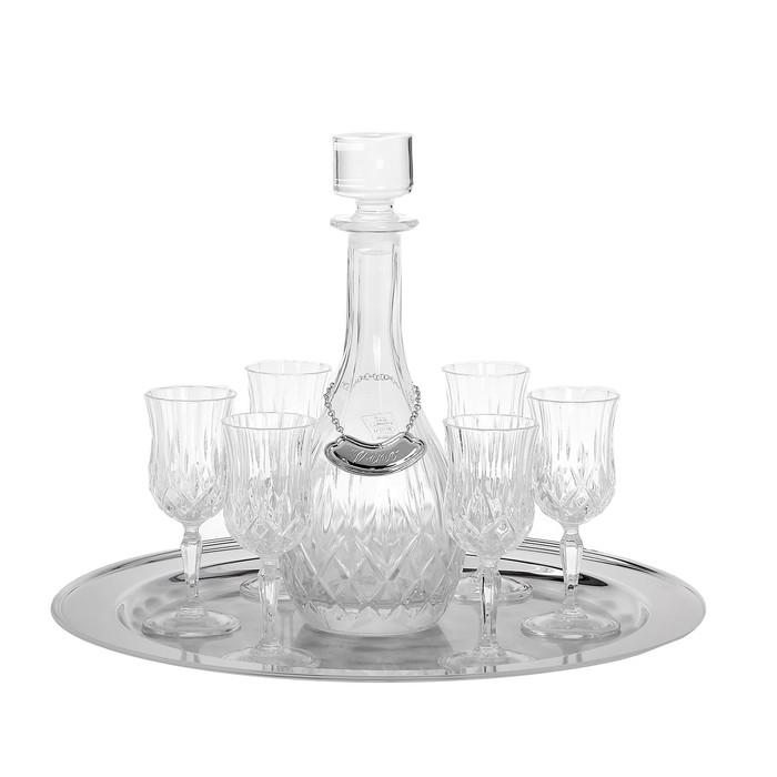 Набор из 6 бокалов для вина 120 мл. с графином на подносе