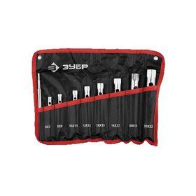 """Набор """"ЗУБР"""" МАСТЕР, ключи торцовые, трубчатые, двухсторонние, 6-22 мм, с воротком, 9 шт"""
