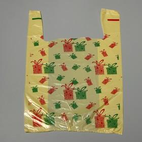 Пакет 'Новогодний презент', полиэтиленовый майка, 28 х 50 см, 12 мкм Ош